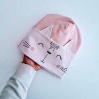 Otroška kapa z ušeski - muca (različne barve)